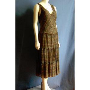 Ralph Lauren Silk Olive Brown Faux Wrap Dress 8